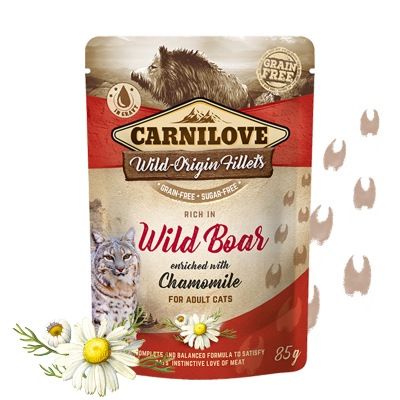 Rich in Wild Boar enriched with Chamomile Wild-origin Fillets in Gravy